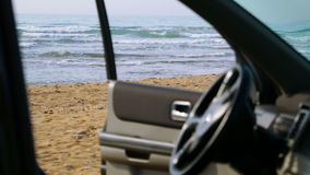 View to the Beach from the Car stock video footage