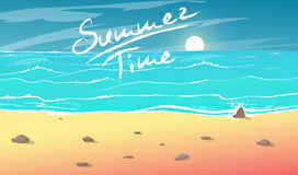 View to beach coastline. Summer time cartoon vector illustration.View to beach coastline. Vacation on coast Royalty Free Stock Photography