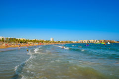 View to the beach Costa Dorada, Salou,. Spain. Summertime. Landscape Royalty Free Stock Photography