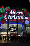 View to beautiful Christmas decoration of Boots store. Stock Photography