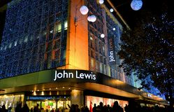 View to beautiful Christmas decoration of John Lewis store. Royalty Free Stock Images
