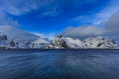 View to beautiful fjord on lofoten islands stock photography
