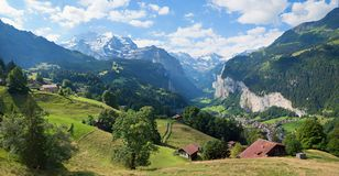 View to beautiful lauterbrunnen valley and jungfrau mountain royalty free stock photography