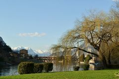 View to beautiful spring landscape of Lecco city in spring sunny day. Royalty Free Stock Photos