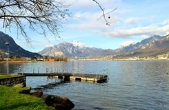 View to beautiful spring landscape in Lecco district. Royalty Free Stock Photos