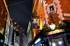 View to beautifully decorated Shakespeares head pub in London. Royalty Free Stock Image