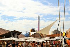 A view to the Belgium pavilion EXPO Milano 2015 catering space. Stock Image