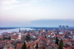 View to Belgrade and the Danube river from the Gardos hill in Zemun, Serbia, in the dusk. View to Belgrade and the Danube river from the Gardos hill in Zemun Stock Photography
