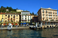 View to Bellagio hospitality lakefront in spring sunny day. Royalty Free Stock Photography