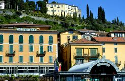 View to Bellagio pier in spring sunny day. Stock Image