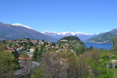 View to Bellagio, Swiss Alps and lake Como in early spring Royalty Free Stock Photos