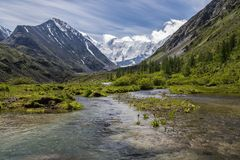 View to Beluha mountain from the Akkem valley, Altai, Russia. View to Beluha mountain, the highest three-peaked mountain in Altai from the Akkem valley Royalty Free Stock Image