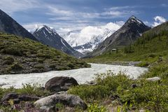 View to Beluha mountain from the Akkem valley, Altai, Russia. View to Beluha mountain, the highest three-peaked mountain in Altai from the Akkem valley Stock Images
