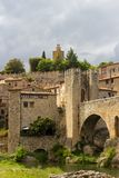 View to Besalú in portrait stock images