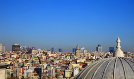 View to Beyoglu from the Suleymaniye Mosque, Istanbul. Stock Photography