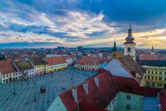 View to the Big Square in Sibiu, Transylvania region, Romania.  stock image
