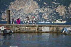 View to the boat - bike break. Cycling break at the garda lake italy trentino Stock Image