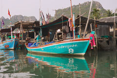View to the boat tied at the fishermen village in Sam Roi Yot National park, Sam Roi Yot, Thailand. Stock Photography