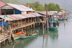 View to the boats tied at the fishermen village in Sam Roi Yot National park, Sam Roi Yot, Thailand. Stock Photo