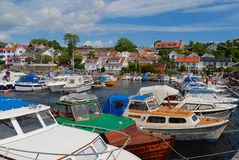View to the boats tied at the harbor in Frogn, Norway. Stock Image