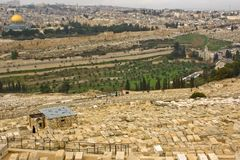 View to both sides of kidron valley in jerusalem. Ancient jewish cemetery, old city walls Royalty Free Stock Photo