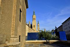 Basilica del Pilar in Zaragoza, Spain stock images