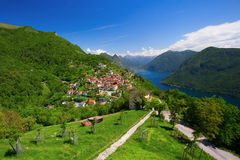 View to Bre village, Lugano lake and Allps from Monte Bre, Ticin Stock Photo