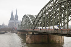 View to the bridge above river in Cologne. Royalty Free Stock Photo