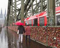 View to the bridge above river in Cologne. Stock Photography