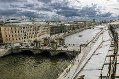 The view to the bridge of Lomonosov over the river  Fontanka in Royalty Free Stock Images