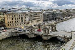 The view to the bridge of Lomonosov over the river  Fontanka in Royalty Free Stock Image