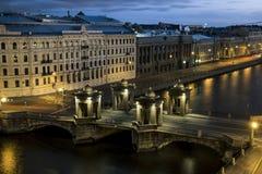 The view to the bridge of Lomonosov over the river  Fontanka in Stock Photo