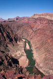 View to bridge over Colorado River in Grand Canyon from above Royalty Free Stock Photos
