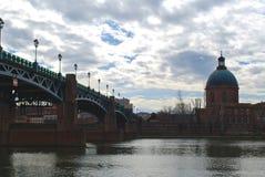 View to the bridge of Saint Pierre. View to the Chapel of Saint-Joseph and bridge of Saint Pierre royalty free stock photo