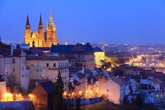 The View to bright Prague with gothic Castle Royalty Free Stock Image