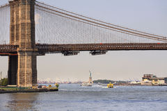 View to Brooklyn Bridge and Statue of Liberty Stock Photography