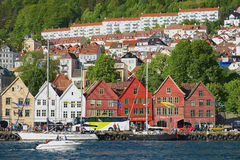 View to the Bryggen area with residential buildings at the background in Bergen, Norway. Stock Images
