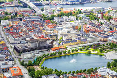 View to the buildings of Bergen from Floyen hill in Bergen, Norway. Royalty Free Stock Photo