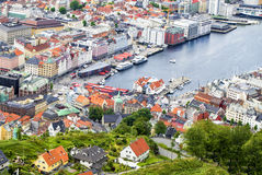View to the buildings of Bergen from Floyen hill in Bergen, Norway. Royalty Free Stock Images