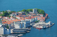 View to the buildings and harbor from Floyen hill in Bergen, Norway. Royalty Free Stock Images