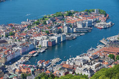 View to the buildings and harbor from Floyen hill in Bergen, Norway. Royalty Free Stock Photos