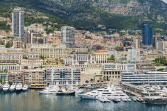 View to the buildings and marina of Monte Carlo in Monaco, Monaco. Stock Photo