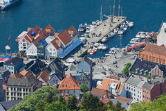 View to the buildings and old sea port from Floyen hill in Bergen, Norway. Stock Photography