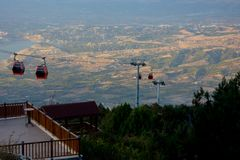 View to the cable car in Denizli. View from the terrace on the cable car in Denizli, Turkey Stock Photos