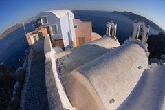 View to caldera in Oia village, Santorini, Greece. Stock Photo