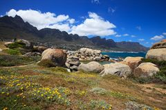 View to the Camps Bay and mountains Royalty Free Stock Photography