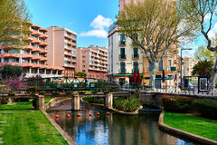 View to the Canal of Perpignan in springtime Stock Images