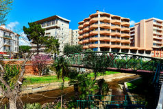 View to the Canal of Perpignan. In springtime. Pyrenees-Orientales, France Royalty Free Stock Photography