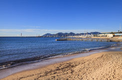 View to Cannes coastline and yacht port, France Stock Photos