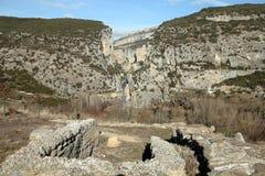 View to the canyon. Roman ruins of Liedena towards a canyon and ancient bridge of Foz de Lumbier, Navarra, Spain stock photo